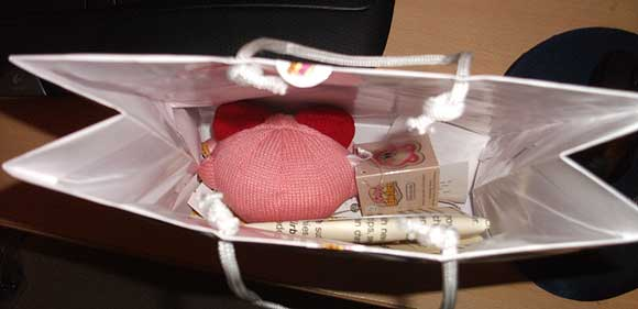 The contents of the Kirby bag of swag